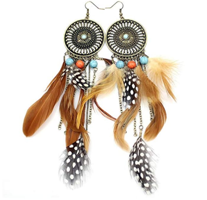 Big Dream Catcher Feather Earrings - Gold-Plated-Base