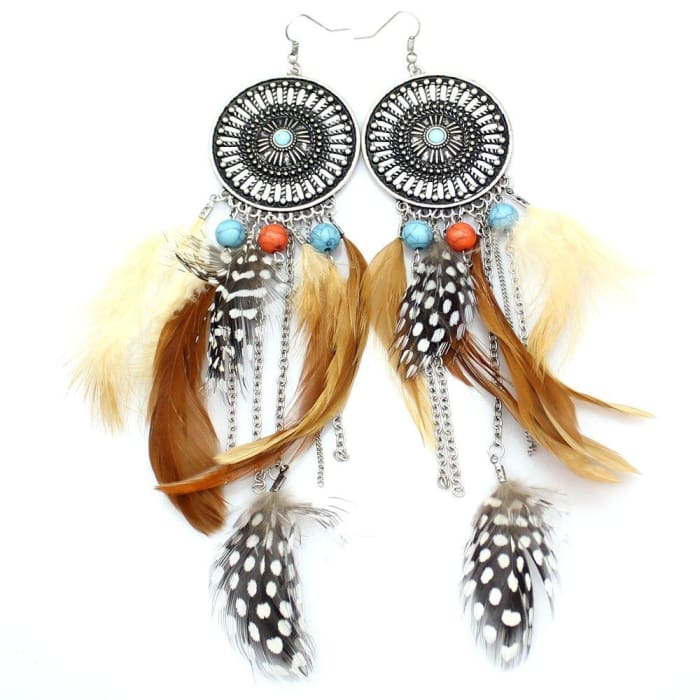 Big Dream Catcher Feather Earrings - Silver-Plated-Base