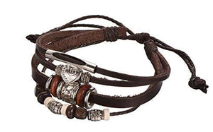 Brown Leather Rope Multi-Strand Bracelet