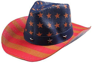 Classic Straw Hat With Wide Brim - American Flag