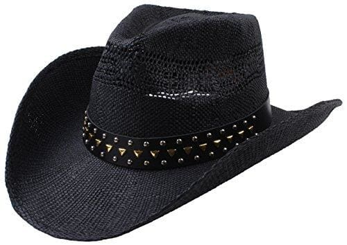 Classic Straw Hat With Wide Brim - Black