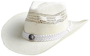 Classic Straw Hat With Wide Brim - White