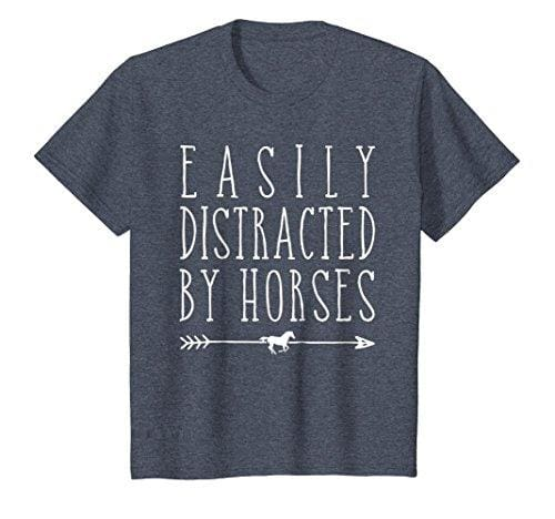 Easily Distracted By Horses T Shirt - Heather Blue / Small