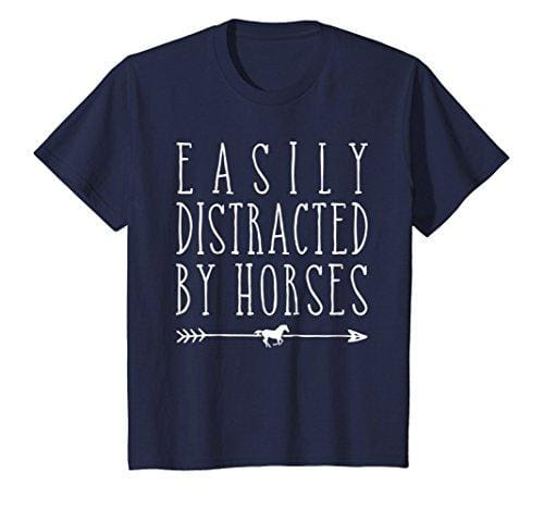 Easily Distracted By Horses T Shirt - Navy / Small