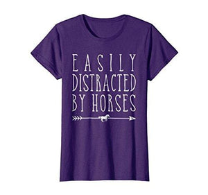 Easily Distracted By Horses T Shirt - Purple / Small