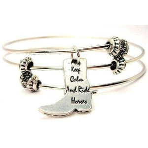 Keep Calm And Ride Horses Boot Shaped Bracelet