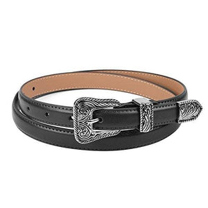 Leather Vintage Design Belt - Black 0.7 Wide