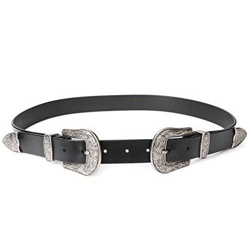 Leather Vintage Design Belt - Black 1.1 Wide (High Waist Size 29-35)