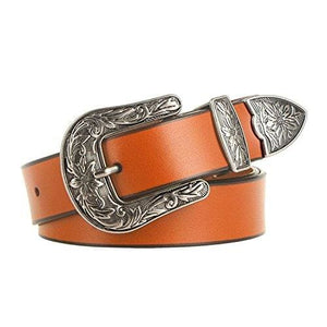 Leather Vintage Design Belt - Light Brown