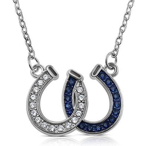 Lucky Crystals Double Horseshoes Silver Tone Necklace