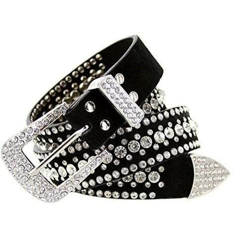 Rhinestone Bling Leather Belt