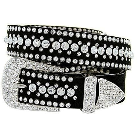 Rhinestone Bling Leather Belt - Small (32) / Crystal