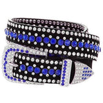 Rhinestone Bling Leather Belt - Small (32) / Dark Blue