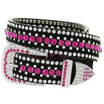 Rhinestone Bling Leather Belt - Small (32) / Pink