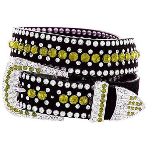 Rhinestone Bling Leather Belt - Small (32) / Yellow