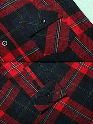 Roll Up Sleeve Flannel Plaid Shirt