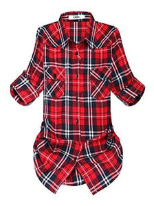 Roll Up Sleeve Flannel Plaid Shirt - Us / Classic Red