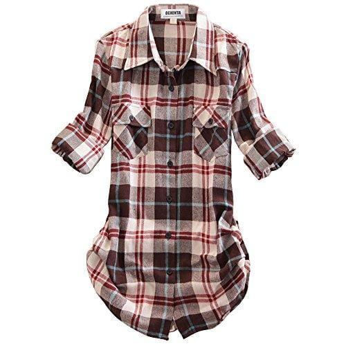 Roll Up Sleeve Flannel Plaid Shirt - Us / Coffee White