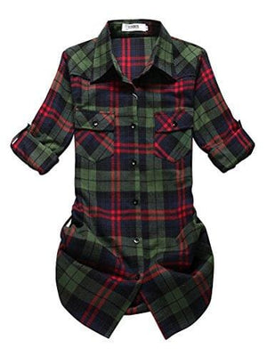 Roll Up Sleeve Flannel Plaid Shirt - Us / Green Red