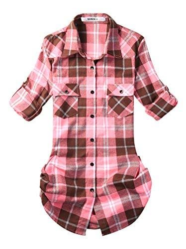 Roll Up Sleeve Flannel Plaid Shirt - Us / Peach Pink