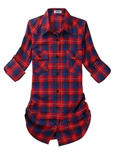 Roll Up Sleeve Flannel Plaid Shirt - Us / Red And Black