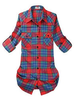 Roll Up Sleeve Flannel Plaid Shirt - Us / Red And Blue