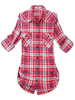 Roll Up Sleeve Flannel Plaid Shirt - Us / Red And White