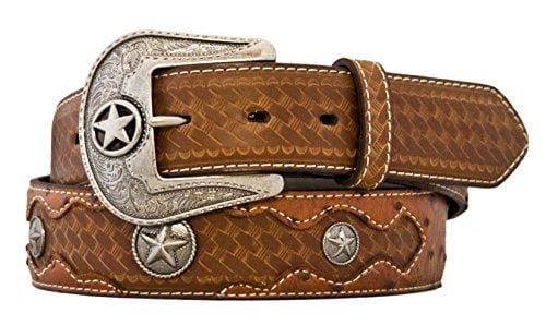 Silver Leather Embossed Ostrich Belt