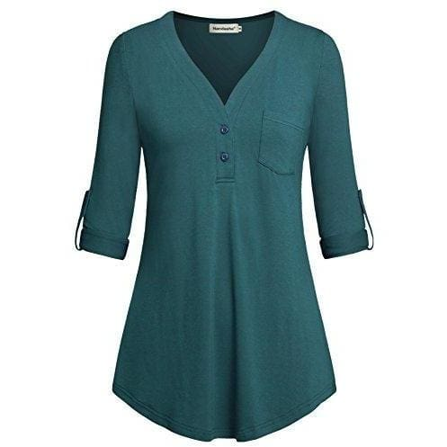 Split V-Neck 3/4 Roll-Up Sleeve Button Down Shirt - Medium / Aqua