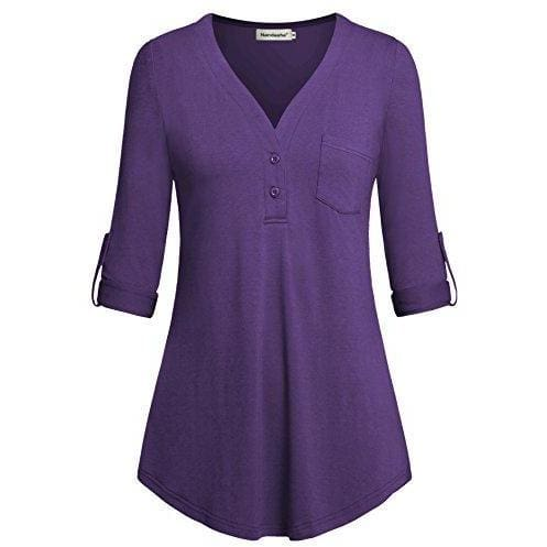 Split V-Neck 3/4 Roll-Up Sleeve Button Down Shirt - Medium / Purple