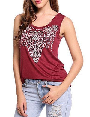 Street Printed Tank - Small / Wine Red