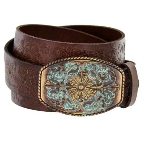 Tooled Full Grain Leather Belt - 30 / Brown