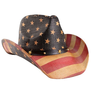 Vintage Tea-Stained Usa American Flag Hat W/ Shape-It Brim