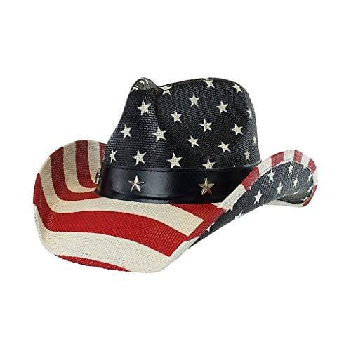 Vintage Tea-Stained Usa American Flag Hat W/ Shape-It Brim - Premium Stars & Stripes