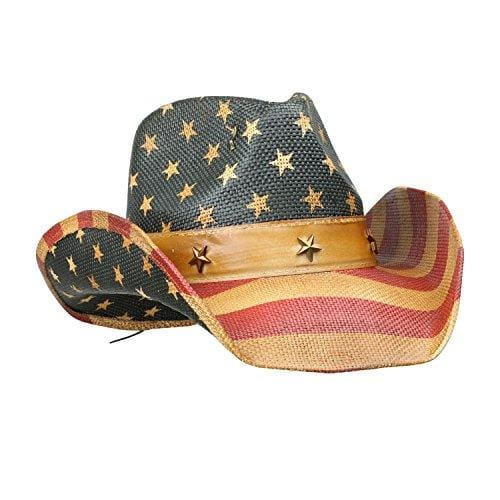 Vintage Tea-Stained Usa American Flag Hat W/ Shape-It Brim - Stars And Stripes