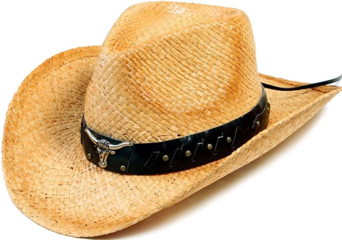 Western Structured Curved Brim Pu Leather Banded Straw Cowgirl Hat