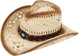 Western Structured Curved Brim Pu Leather Banded Straw Cowgirl Hat - Beige Blue Bead