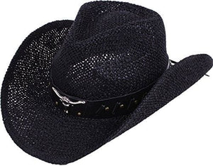 Western Structured Curved Brim Pu Leather Banded Straw Cowgirl Hat - Black Bull