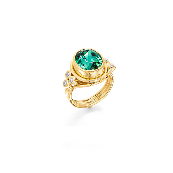 18K Green Tourmaline Temple Ring