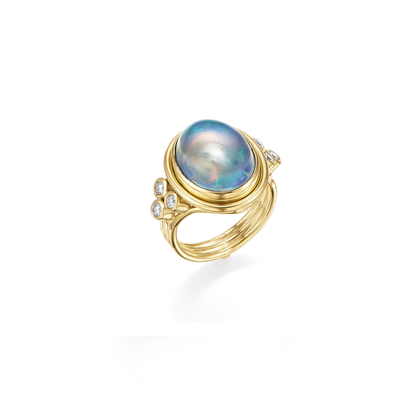 18K Water Opal Temple Ring