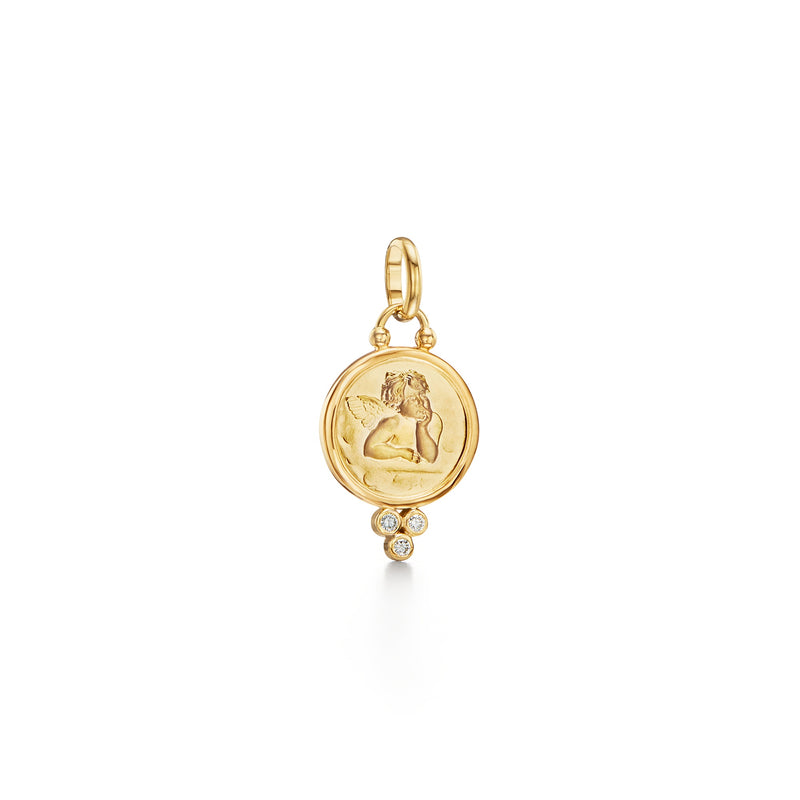 18K Diamond Angel Pendant
