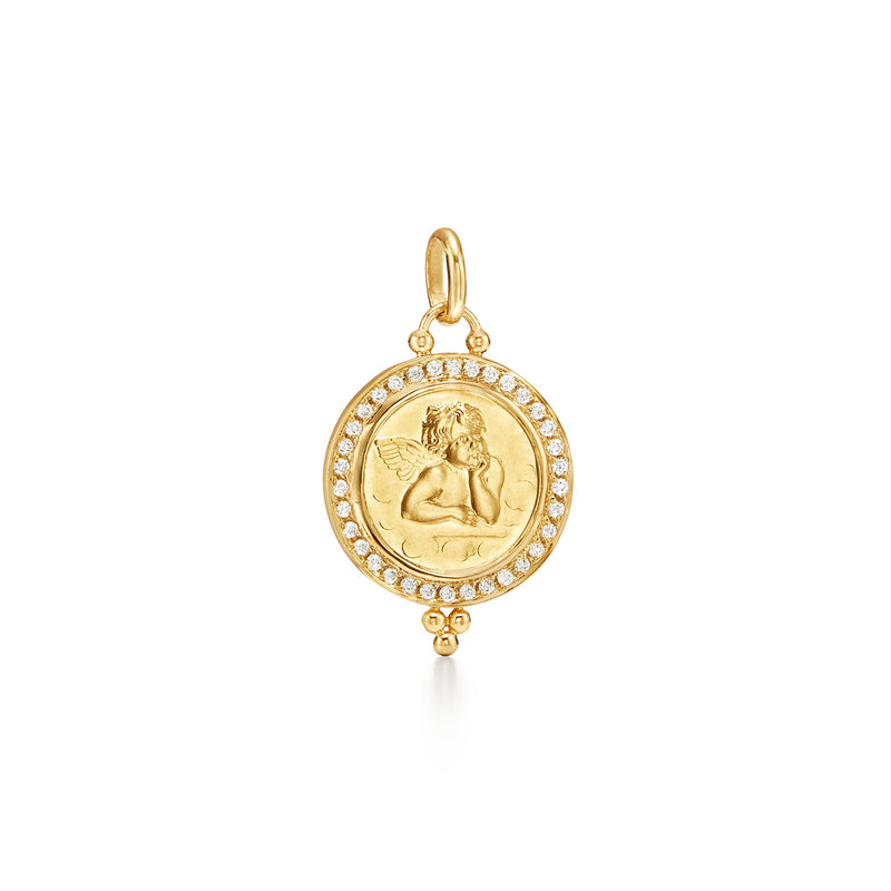 18K Diamond Pavé Angel Pendant