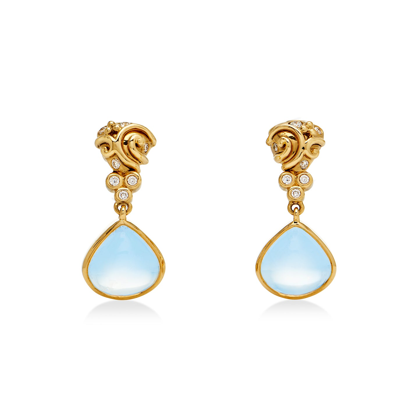 18K Whirlpool Drop Earrings