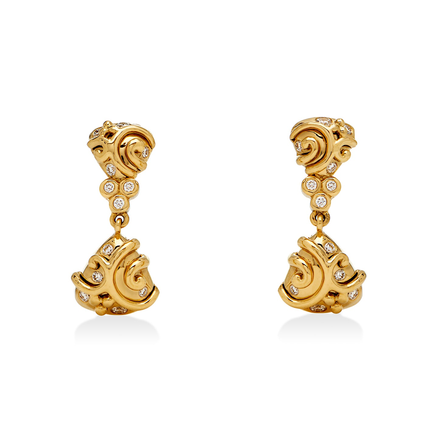 18K Double Whirlpool Earrings