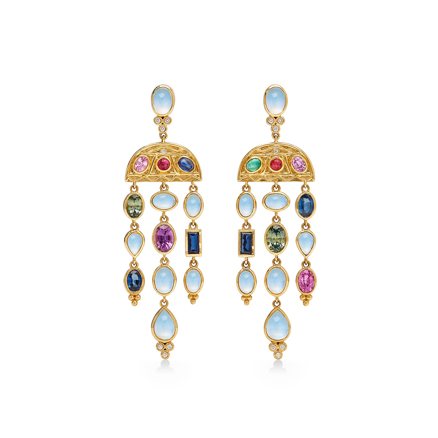 18K Theodora Crescent Drop Earrings