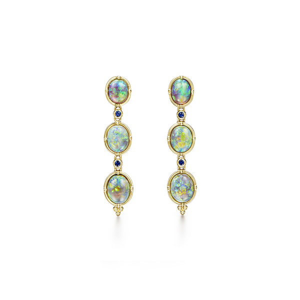 18K Black Opal Cascade Earrings