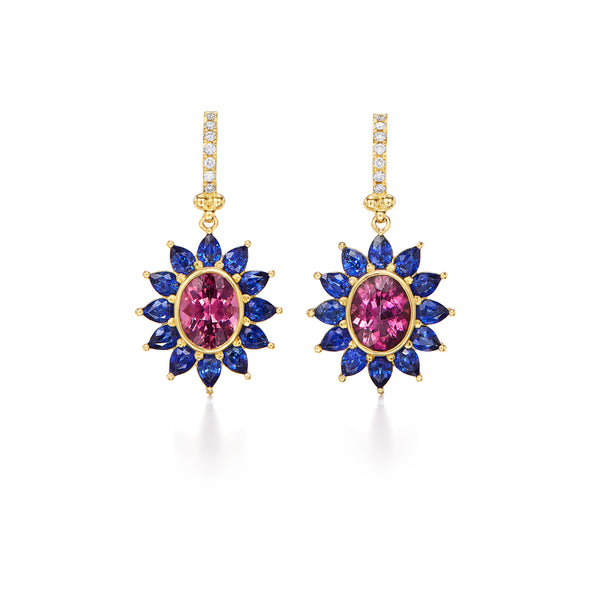 18K Pink Tourmaline Halo Earrings