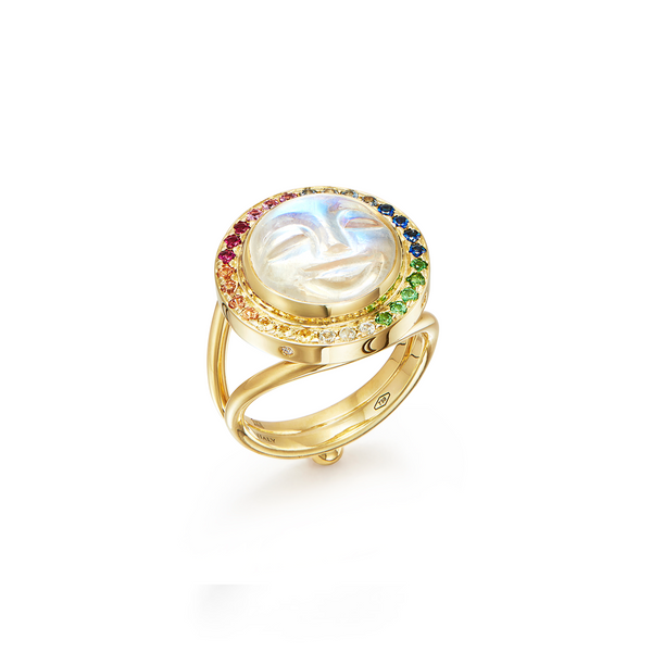 18K Moonface Rainbow Ring