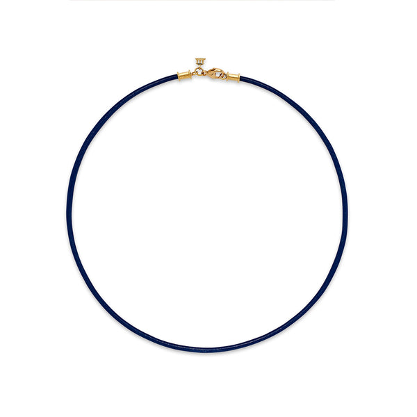 18K Blue Leather Cord