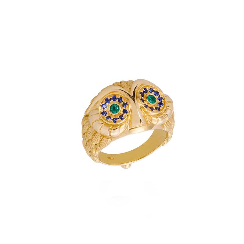 18K Owl Face Ring